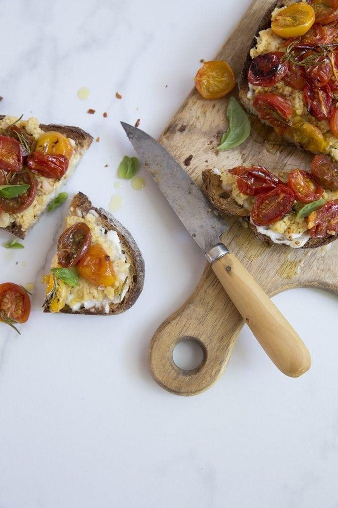 Roasted Tomato and Garlic Smashed Chickpea Tartines