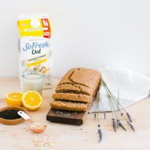 sliced cake with oat milk, lavender and lemon