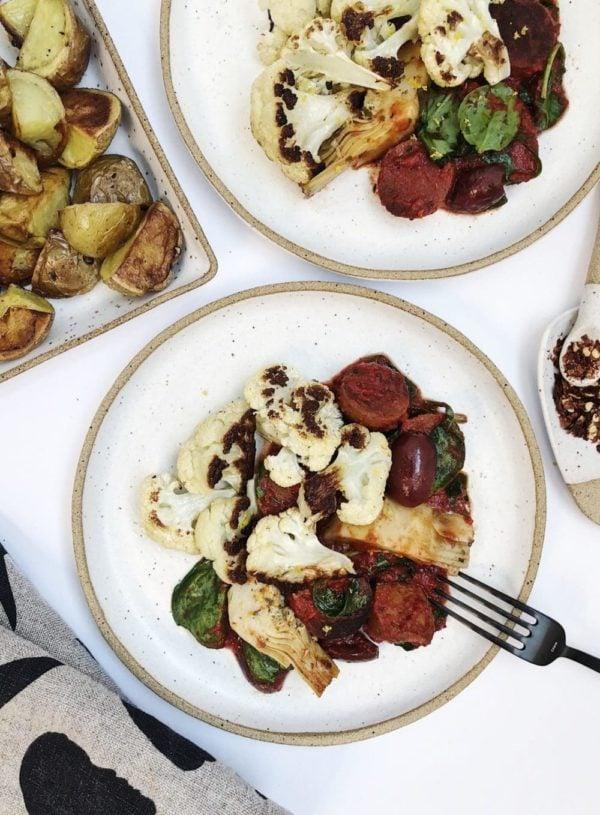 Easy High Protein Dinner: Roasted Cauliflower with Saucy Veggies
