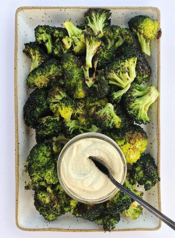 Togarashi Roasted Broccoli with Miso Cashew Dip