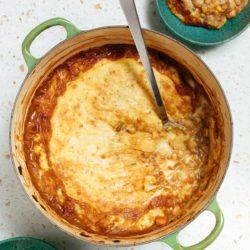 vegan shepherd's pie in pot with spoon