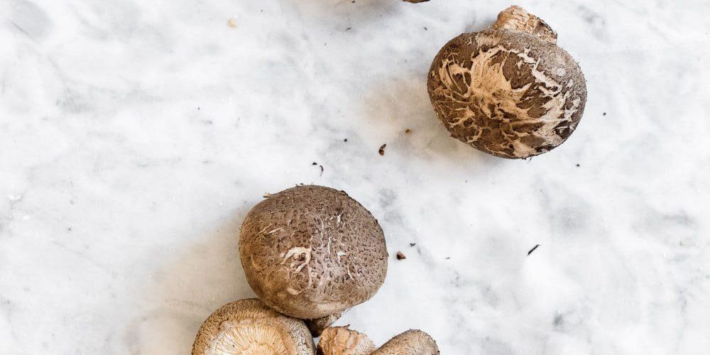 shiitake mushrooms in bag on marble
