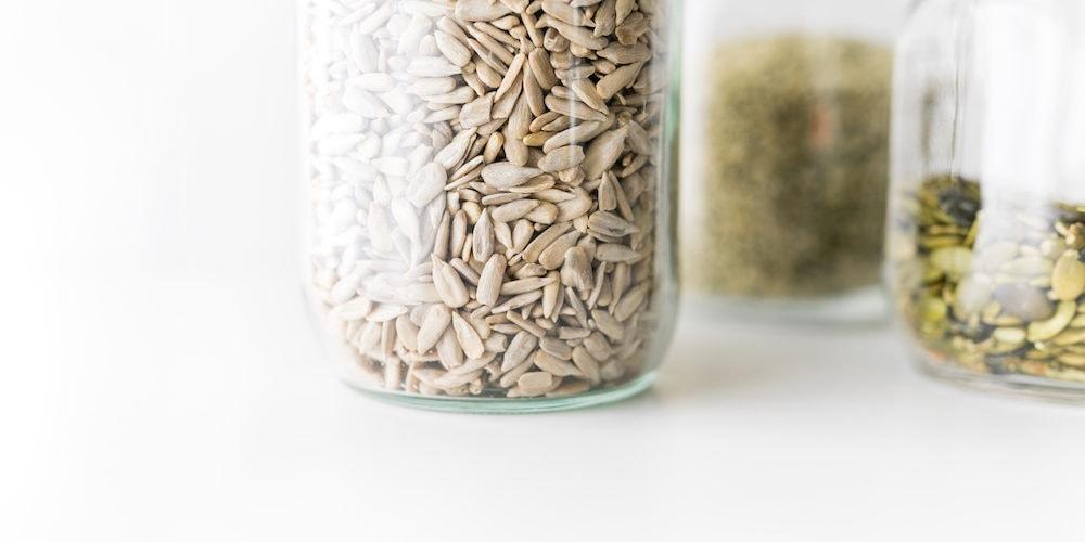 glass jars of seeds