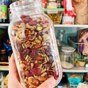 glass jar of Trader Joe's trail mix