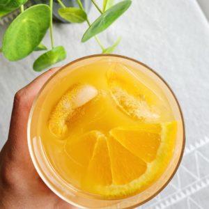 orange iced tea in glass
