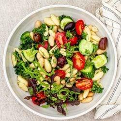 easy vegan pasta salad by Desiree Nielsen RD