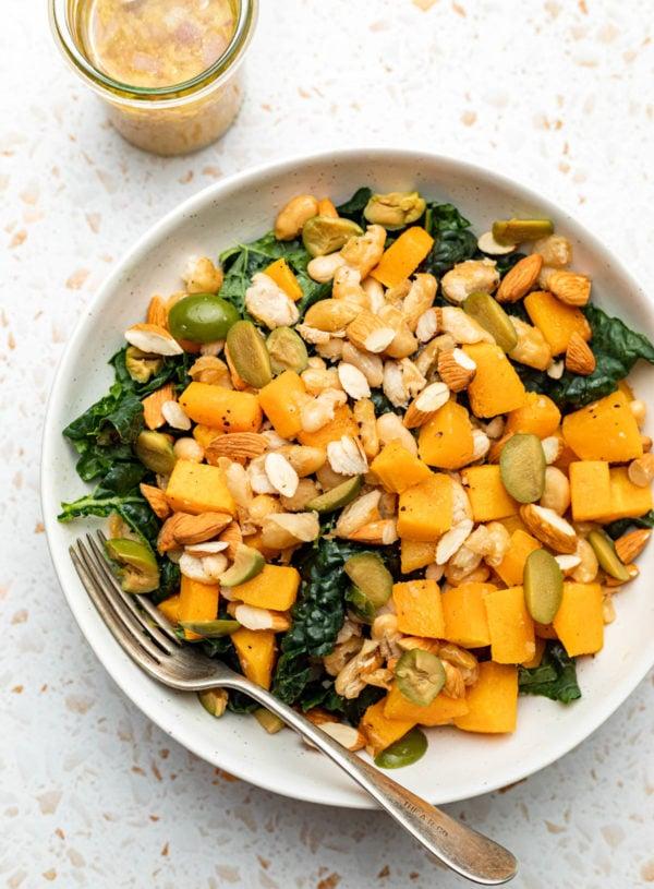 Vegan Butternut Squash Kale Salad