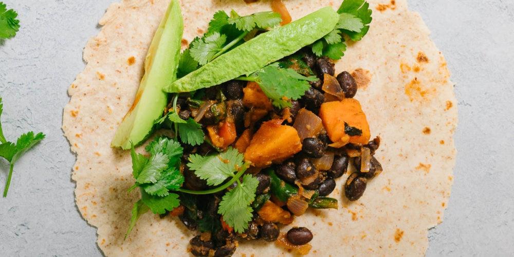 vegan black bean burrito
