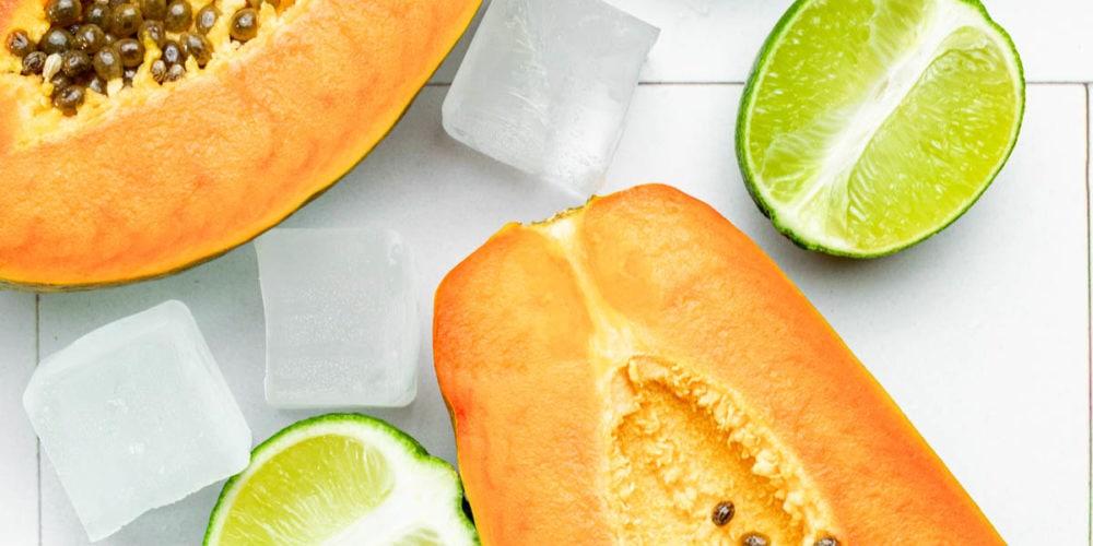 papayas, limes and ice