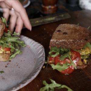 the Korean Vegan making her pesto egg sandwich