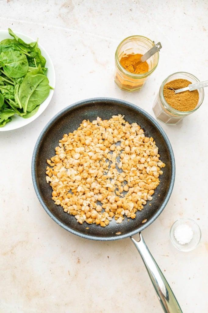 Cooking Dietitian Desiree Nielsen's Chickpea Scramble Cooking Step 1