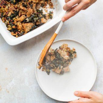 Dishing up warm vegan kale stuffing
